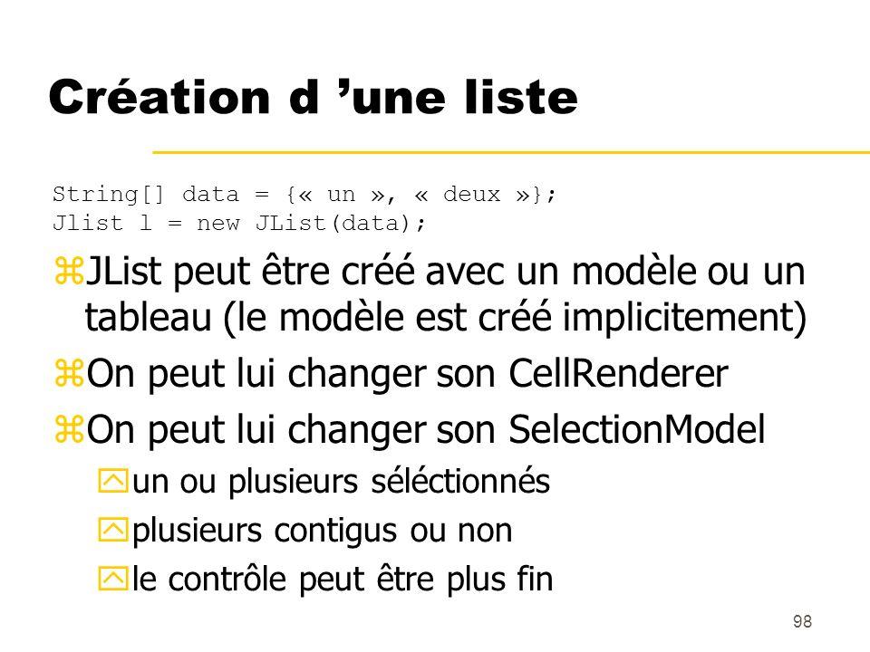 Création d 'une listeString[] data = {« un », « deux »}; Jlist l = new JList(data);